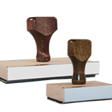 Browse our wide selection of customizable wood handled rubber stamps. For discounts or free shipping on bulk orders, call us at 323.463.3111.